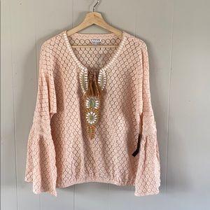 VENUS crocheted bell sleeve beaded top blush  sz m